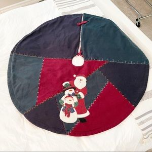 PATCHWORK CHRISTMAS TREE SKIRT Santa Snowmen